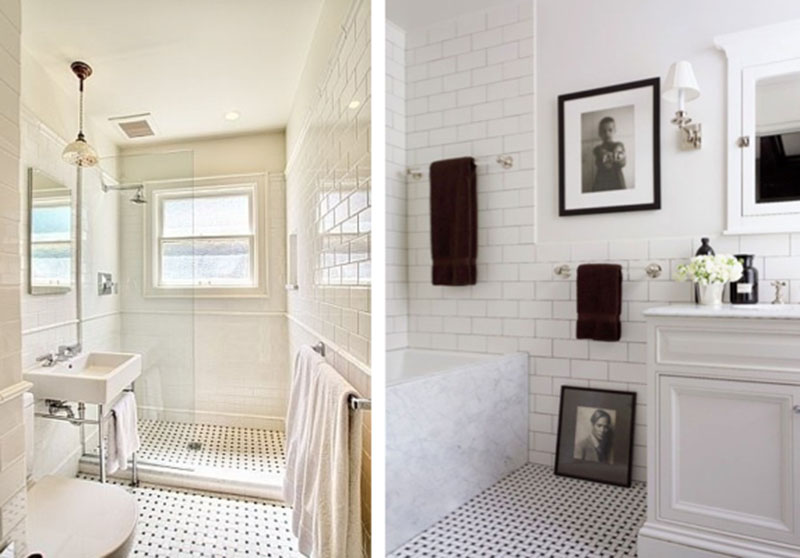Popular Chic Bathroom With Glass Brick Tile And A Contoured Claw Footed Tub