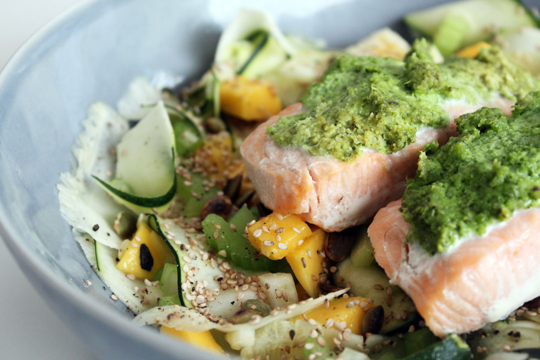 BAKED SALMON WITH GREENS & VEGAN PESTO